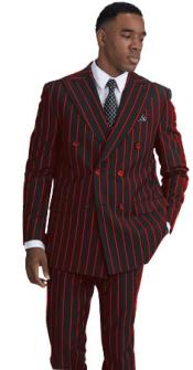 BOLD-40 Black and Red Stripe Pinstripe Gangster 1920s Mens Fashion Bold Chalk