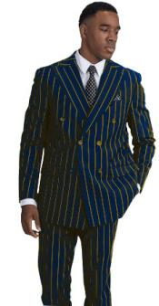 Navy Blue and Gold Stripe Pinstripe Gangster 1920s Mens FashionBold Chalk