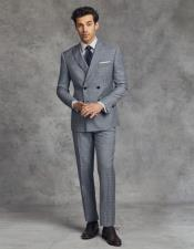 Double Breasted Slim Fit Wool Suit 4 Buttons - Grey And Blue
