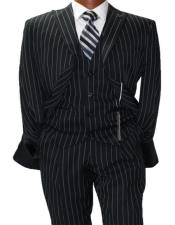 Adams Mars Black w White Pinstripe Vested Classic Fit Suit