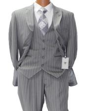 Adams Mars Gray w White Pinstripe Vested Classic Fit Suit