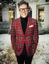 Mens Red Plaid  Two Button Blazer For Sale
