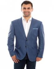Single Breasted Blue Linen Sports Coat Peak Lapel