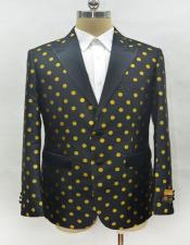and Gold polka dot pattern Mens Fashion Blazer Sport Coat