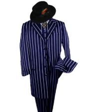 SHIMMERY GANGSTER Black And Bold Pronounce Navy Blue ~ White Pinstripe
