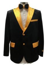Black And Gold Velvet Fabric Tuxedo Dinner Jacket Free Matching bowtie Fashion