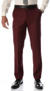 Mens Burgundy Slim Fit Flat-Front Mens Dress Pants - Cheap Priced Dress