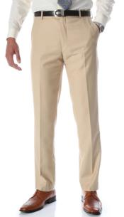 Tan Slim Fit Flat-Front Dress Mens Tapered Mens Dress Pants -