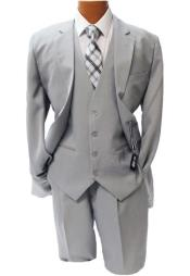 Adams Light Gray Vested Suit
