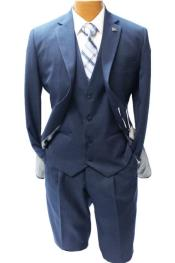 Adams Navy Blue Vested Classic Fit Suit