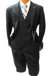 Adams Black Vested Classic Fit Suit