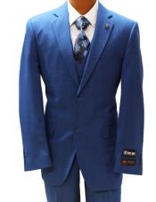 Adams Blue Vested Classic Fit Suit