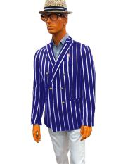 Mens Double Breasted With Brass Buttons Bold Stripe Blazer Sport Coat