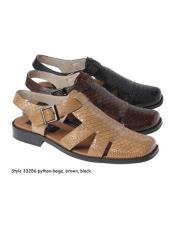 Sandals  Python Snake Animal Skin Beige or Black or Brown