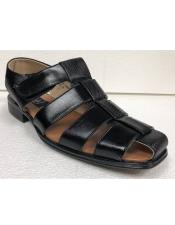 Mens Dress Sandals Black Texture Closed Toe