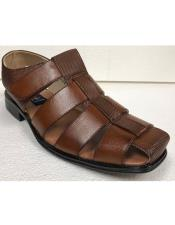 Mens Dress Sandals Cognac Brown Closed Toe