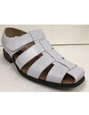 Mens Dress Sandals White Closed Toe