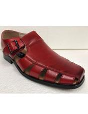 Mens Dress Sandals Red Closed Toe