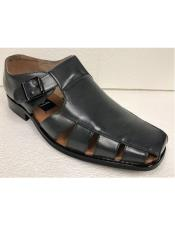 Mens Dress Sandals Dark Gray Closed Toe