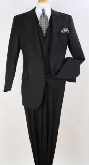 King Pleated Pants Mens 3 Piece Vested 100% Worsted Wool Suit
