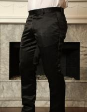 Black Shiny Sateen Slim Fit Pants Flat Front Mens Tapered Mens Dress