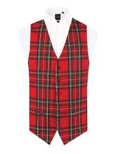 Red Tartan - Plaid Vest Regular Fit 5 Button Waistcoat