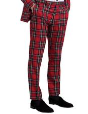 Tartan Palid Window Pane Pattern Flat Front Pants Slacks