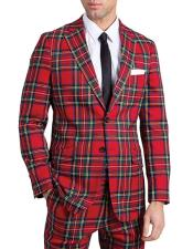Red Tartan - Plaid Checkered Suit Jacket Slim Fit Notch lapel