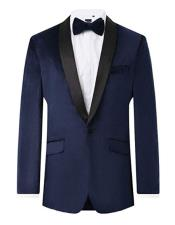 Navy 2 Piece Velvet Tuxedo Regular Fit for Men