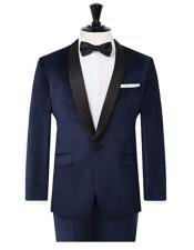 Navy Velvet 2 Piece Tuxedo Slim Fit Contrast Shawl Lapel velour