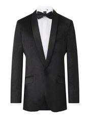 Tuxedo Slim Fit Shawl Lapel velour Black Velvet 2 Piece