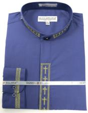 Daniel Ellissa Mens French Cuff Shirt Purple