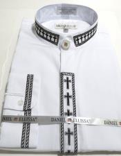 Ellissa Mens French Cuff Shirt White and Black