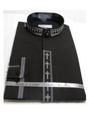Ellissa Mens French Cuff Shirt Black and White