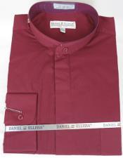 Daniel Ellissa Mens French Cuff Shirt Burgundy