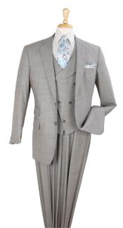 King Mens 3pc 100% Wool Classic Fit Suit - Double Breasted