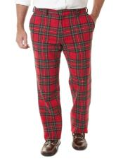 Tartan ~ Plaid ~ Window Pane Pattern Red Pants Flat Front