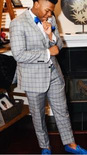 Single Breasted Notch Lapel Suit Grey