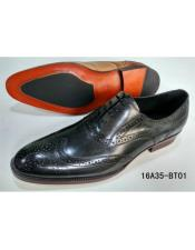 Mens Premium Soft Genuine leather Timeless Wing Tip Dress Shoe In