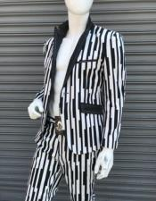 Single Breasted Peak Lapel Suit Black ~ White
