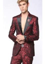 Mens Peak Lapel Suit Red ~ Black