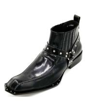 Black Harness Strap Studded Zota Unique Ankle Cheap Priced Mens Dress