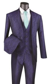 Floral Paisley Vested 3 Piece Suit In Navy $175
