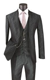 Floral Suit - Flower Suit Metallic Floral Paisley Vested 3 Piece Suit