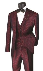 Floral Suit - Flower Suit Mens Ruby Two Button Shawl Lapel Floral