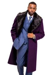 Burgundy Overcoat ~ Topcoat With Fur Collar in Cashmere and Wool