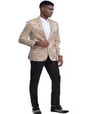 Mens Gold Floral Pattern Slim Fit Shawl Lapel Tuxedo For Prom &