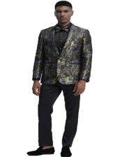 Mens One Button Closure Floral Pattern Gold Slim Fit Tuxedo For Wedding