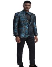 Fit Tuxedo Dinner Jacket Paisley ~ Floral Pattern Fashion Blazer Perfect for Prom & Wedding & Stage