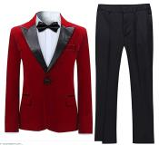 Velvet Suit Tuxedo Suit Jacket and Pants Red (Including Black Pants)